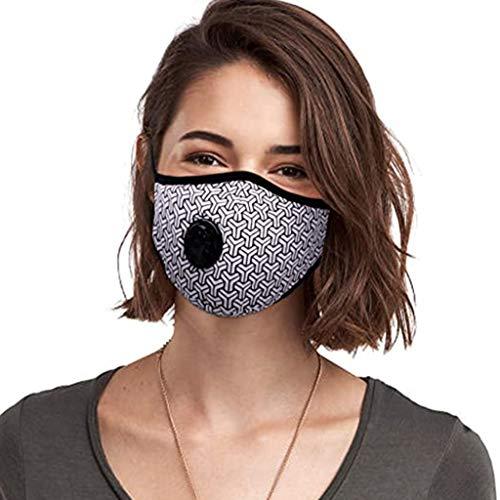 N/B 2 Protección Facial Poliéster con 4 Filtración de Carbón Activado, Aumente su Rendimiento en el Deporte (Blanco)