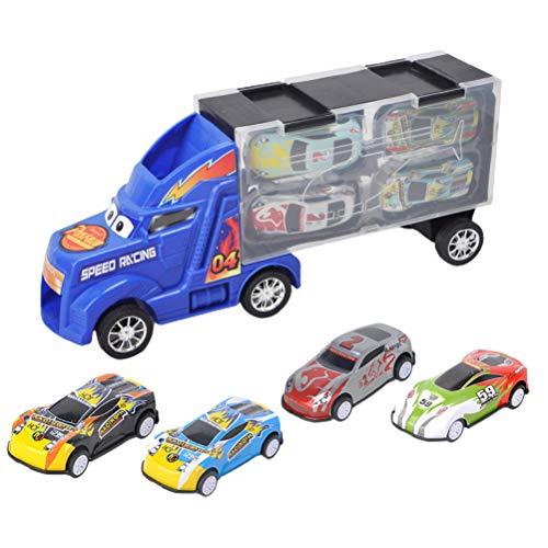 5 piezas de transporte transporte de coche camión juguete, coche de juguete para niños y niñas (incluye 1 camión grande, 4 coches)