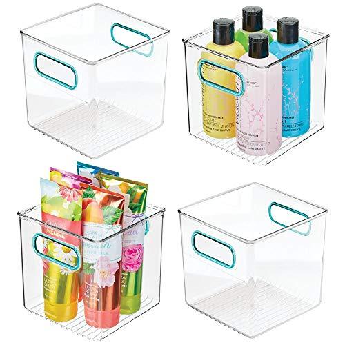 mDesign Set da 4 Contenitori per il bagno – Organizer in plastica per cosmetici, prodotti bagno e molto altro – Pratico cesto per il bagno con manici – trasparente/blu