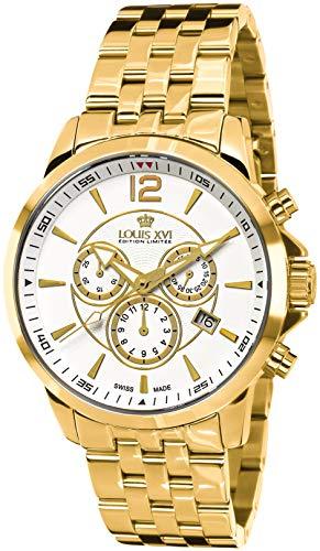LOUIS XVI Herren-Armbanduhr Athos Stahlband Gold Weiss Chronograph Analog Quarz Edelstahl 879