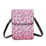 Bolso de hombro pequeño, con estampado de piel de leopardo, color rosa brillante, bolsa cruzada para teléfono celular, cartera ligera para mujeres y niñas