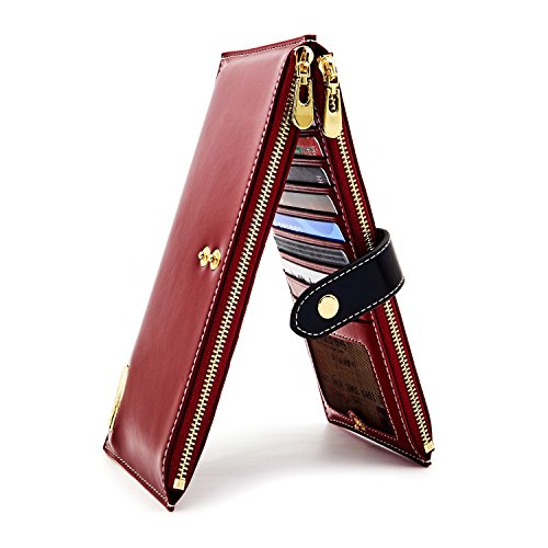 ANDOILT Womens Genuine Leather Wallet RFID Blocking Credit Card Holder Zipper Purse Cell Phone Handbag red