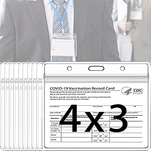 10 Pack 4×3 in Waterproof Clear Plastic Name Tag ID Card Holder 4x3 Horizontal Badge Holders Sealable Vinyl Plastic Sleeve Pouch with 3 Lanyard Slots for Conference Events & Travel Resealable Zip