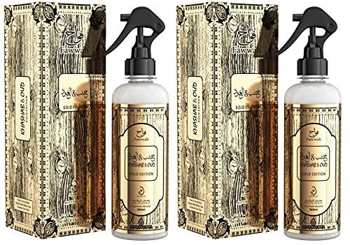 Lote de 2 pulverizadores Khasha & Oud Gold Edition 500 ml, sin alcohol, ambientador para interior de casa, coche y espray textil, elimina los olores encarcelados