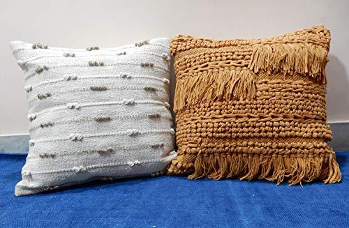 iinfinize – Juego de 2 fundas de cojín de varios colores con diseño indio para sofá, con cierre de cremallera, hippie, boho, decoración del hogar, para el suelo, la cama, la almohada, la almohada, la almohada del coche, la funda de cojín de pelo con borlas