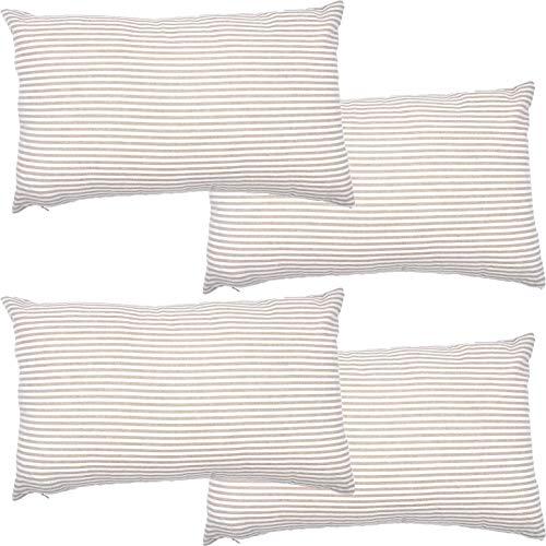 Federa in cotone a righe decorative rettangolari, set di federe per cuscino per casa, auto, ufficio, club lombare, 45,7 x 45,7 cm, beige e bianco