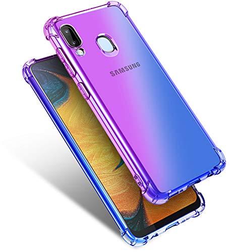 Starhemei for Galaxy A20 Case, Galaxy A30 Case, Shockproof Gasbag Case Gradient Color Anti-Fall Soft Silicone Anti-Drop Phone Case for Samsung Galaxy A20 (Purple&Blue)