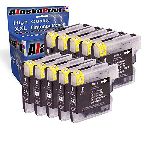 10x Druckerpatrone Kompatibel für Brother LC1100 LC-1100 LC 1100 LC 980 LC980 LC-980XL Schwarz Black bk für DCP6690CW DCP385C DCP145c DCP165C DCP185C