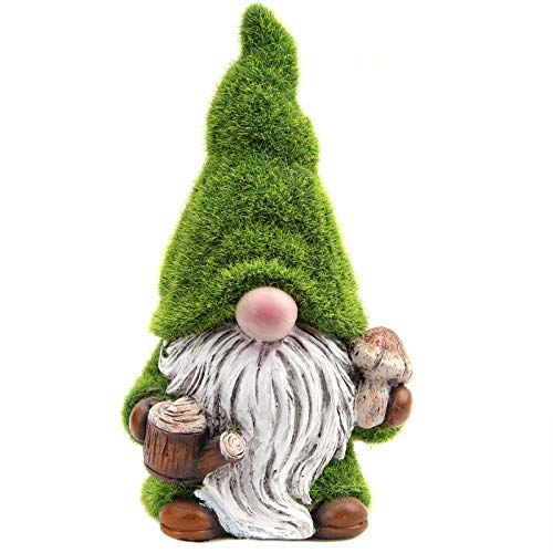 Leekung Garden Gnomes Statue Outdoor Decor,Flocked Gnomes Garden Decorations,Indoor gnome Figurine Green Color for Home Decoration