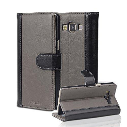 Cadorabo Custodia per Samsung Galaxy A5 2015 (5) Custodia di Libro di Finta-Pelle Bicolore in Grigio Nero – con Vani di Carte e Funzione Stand – Portafoglio Cover Case Wallet Book Etui Protezione