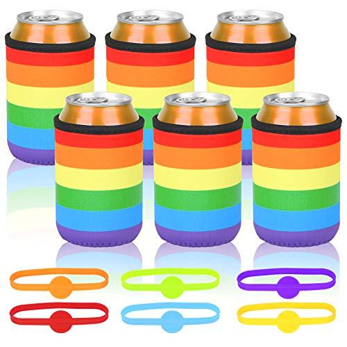 BELIOF 6 Stücke Regenbogen Farbe Dosenkühler Flaschenkühler Bierdosen Neoprenkühler für Bier Soda Bierkühler Dosen Neopren Kühler Party Outdoor Aktivitäten Geeignet für 0,33 L Dosen