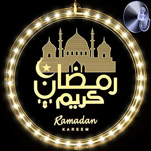 Luz de Hadas Decorativa de Eid Ramadán, Decoración Luna y Estrella Islam Mubarak Luces de Novedad de Pared de Telón de Fondo de Partido Musulmán Islámico para Dormitorio (Estilo Encantador)