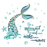 decalmile Mermaid Tail Wall Decals Quotes Be a Mermaid and Make Waves Wall Stickers Baby Nursery Girls Bedroom Bathroom Wall Decor