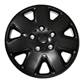TuningPros WSC-026B16 Hubcaps Wheel Skin Cover 16-Inches Matte Black Set of 4