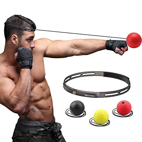 ボクシングボール パンチングボール LangRay 格闘技 打撃練習 軽量 練習用ボール 動体視力 反射神経 迅速な反応 パンチ練習 トレーニングストレス解消 ナイロンヘッドバンド 初心者用黒ボール ベテラン用赤ボール (シリコンヘッドバンド1)