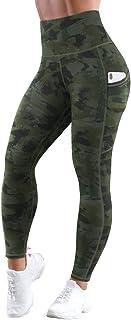 MOSHENGQI High Waist Yoga Pants with Pockets Pattern Tummy Control Workout 4 Way Stretch Yoga Leggings for Women