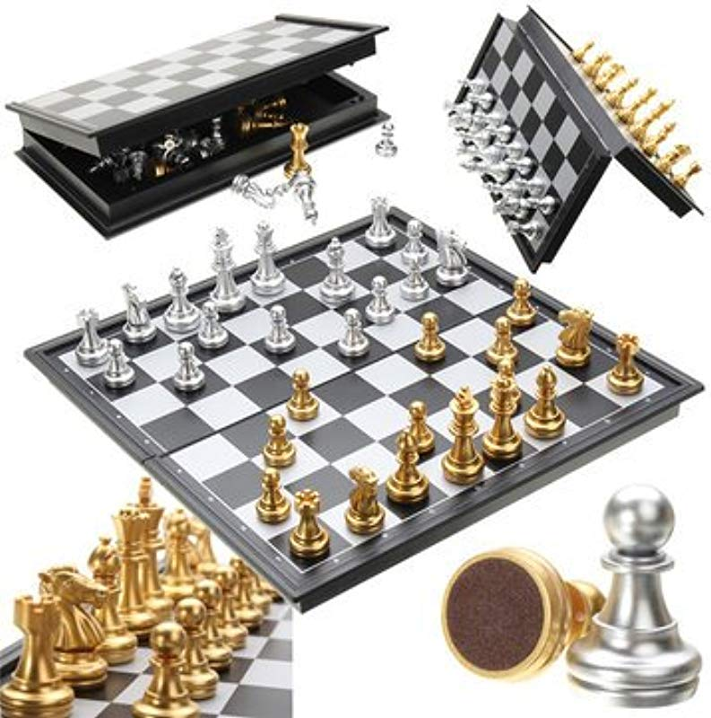 Put Magnetized Cheat Chess Game Silver Gold Piece Folding Magnetic Foldable Board Contemporary Set Unmoving Bent Situated Rigid Fixed Dictated Attractive Settled Primed 1PCs