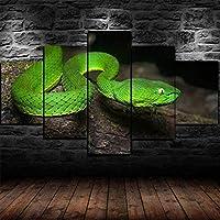 5パネルモダングリーンフォーゲルズピットバイパー毒蛇風景アートワークキャンバスプリント抽象的な写真帆布の写真絵画へのセンセーション壁アート家の装飾壁
