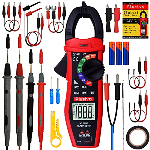 Digital Clamp Meter T-RMS 6000 Counts, Multimeter, Non Contact Voltage Tester, Auto-ranging, Measures Current Voltage Temperature Capacitance Resistance Diodes Continuity Duty-Cycle (AC Clamp Meter)