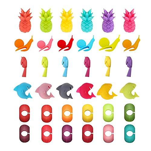Yageartbtfed Segnabicchieri 36 Pezzi Segna Bicchieri Colorati Segnabicchieri in Silicone Vino Anelli Segna Segna Bicchieri per Bicchieri di Vino 5 Forma per Decorazioni Bicchieri di Vino
