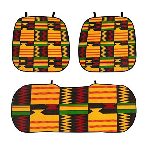 GREATN African Tribal Auto Seat Cushion Soft Quick Dry Car Seats Protectors 3 Pcs Anti Slip Car Front Rear Pad Cover Mat for Drivers Seats Office Chair Home Use