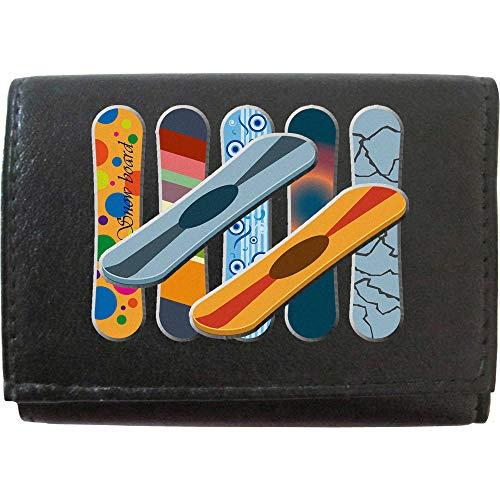 Snowboard-Set von Snowboard-Designs Wintersport Sking on KLASSEK Marke Herren Leder Geldbörse Schlüsselanhänger Schlüsselbrett mit Reißverschluss Tasche und Metall-Geschenkbox