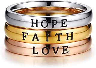 Stainless Steel Tri-Color Trinity Ring Set Faith Love Hope Engraved Stackable Ring Band for Women,Inspirational Ring