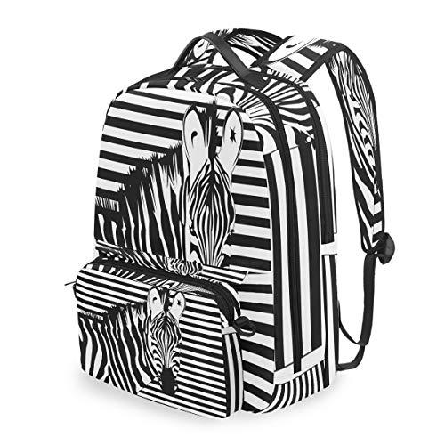 Funnyy Animal Zebra Print Mochila de Hombro extraíble Bolsa de computadora Escuela Bolsa Bandolera para niños niñas