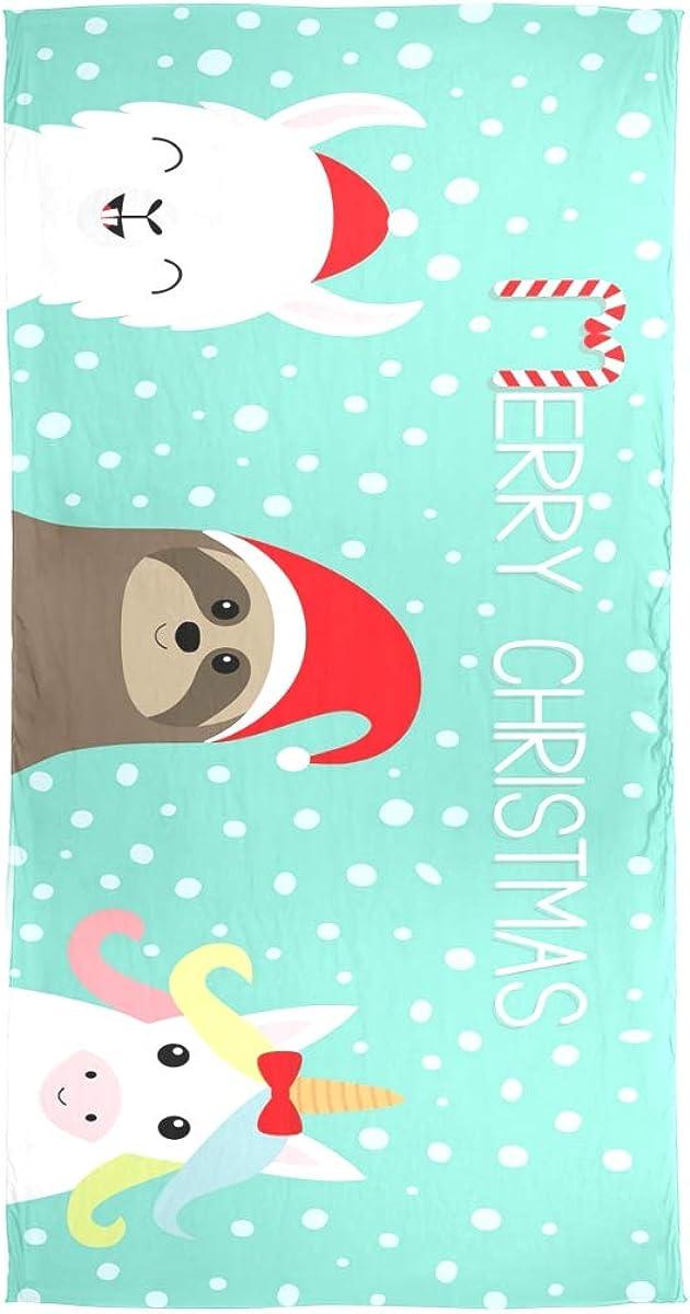 AUUXVA Fashion Scarf Merry Christmas Alpaca Sloth Unicorn Long Lightweight Sunscreen Scarf Shawl Wrap Muffler Neckerchief for Women Men