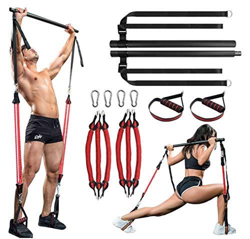 Kit de barra de pilates, barra de tensión muscular, longitud ajustable y resistencia portátil en casa, gimnasio Pilates, kit de entrenamiento completo (6 bandas de resistencias)