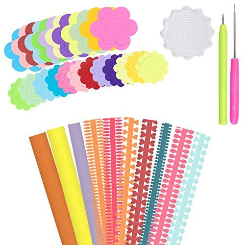 YOUKCDT 143 Stück Papier Quilling Werkzeug Set,100 Streifen mit 8 gemustertem Quillingpapier,40 Rosenquiltpapier,1 Nadelstiftspitze 5 cm,1 Palette 5 cm,1 Quillingpapierstift für DIY Handwerk