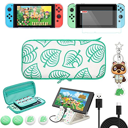 Switch Accessories Bundle for Animal Crossing, 7 in 1 Carrying Case for NS Console and Accessories with Playstand & Screen Protector & Thumb Grip Caps & Protective Cover & Charging Cable & Pendant