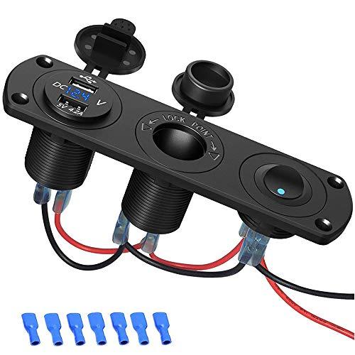 Auto USB Steckdose, SONRU KFZ USB Ladegerät 12V/24V 5V 4.2A Schnellladung, LED Voltmeter/Schalter/Zigarettenanzünder, Wasserdichte und Staubdicht, für KFZ Boot Motorrad SUV LKW Wohnwagen Marine