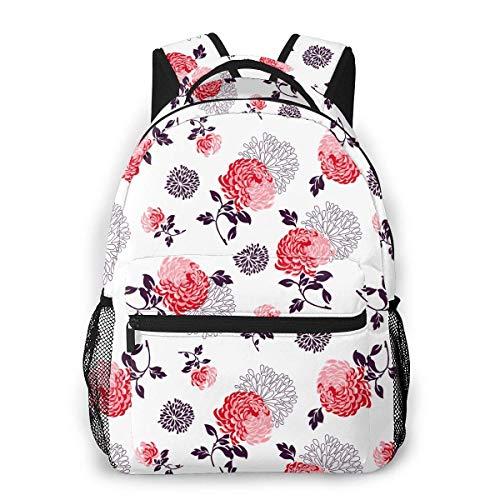 shenguang Flores de crisantemo Mochila de Viaje Ligera Mochila Escolar Informal para Mujeres y Adolescentes Regalo