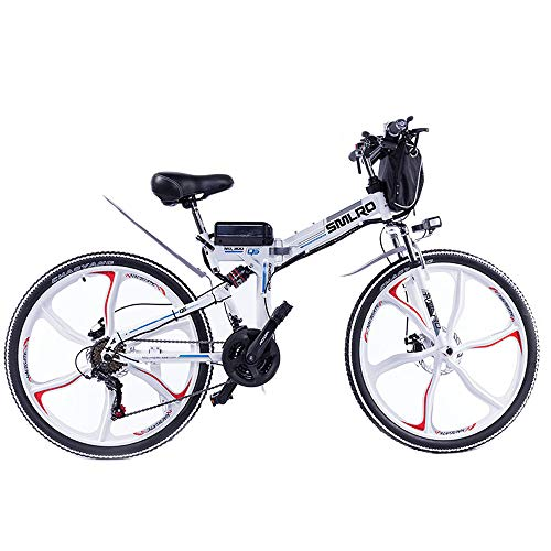 SMLRO Adult Electric Bicycles 26' Folding Mountain Bike, 48V 13Ah 350W 21-Speed Gear, 3 Working Modes