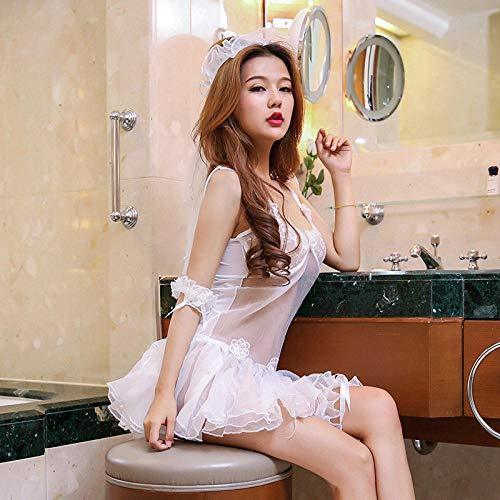 Ropa de dormir para mujer Corsés para mujer Lencería sexy uniforme de mujer tentación perspectiva encaje bandeja de acero se reunió vestido de novia romántico falda de princesa traje sexy-blanco _ ta