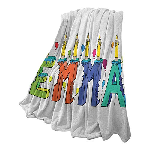Anmaseven Emma Flannel Fleece Throw Blanke Machine Washable Popular Female First Name Design with Many Colors Candles and Balloons Birthday Theme Multicolor 70' W x 94' L