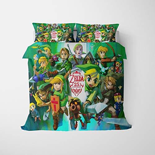 The Legend of Zelda - Juego de funda de edredón y funda de almohada para niños (135 x 200 cm)