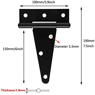 6Pack 6 Inch T Strap Heavy Duty Shed Hinge Gate Strap Hinge Door Barn Gates Hinges Black Wrought Hardware Iron