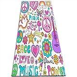KASABULL Esterilla Yoga Paz, amor y una paloma Flower Power Groovy Psychedelic Notebook Doodles Set con mariposa Colchonetas de ejercicio Pilates para entrenamiento en casa Gimnasio Fitness Meditación