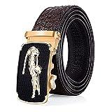 Black Friday Deals Cyber Monday Deals Week-Men Genuine Leather Belt Crocodile design Automatic Buckle (Coffee-b)