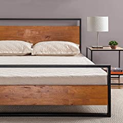 INDUSTRIAL STYLING - Black metal frame boasts clean lines and a low profile design accented beautifully with a finished pine wood headboard and footboard BUILT TO LAST - Sturdy steel framework and solid wood are crafted with durability in mind.Footbo...