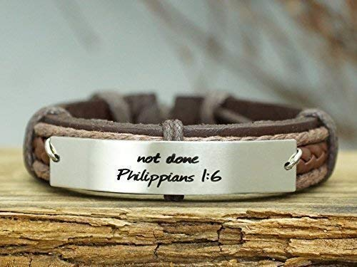 Bible Verse Credence Bracelet for store Men- finis done 1:6-not philippians not