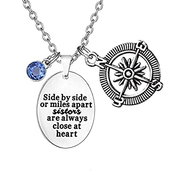 TISDA Birthstone Crystals Necklace Side by side or miles apart sisters are always close at heart  Necklace  12 December