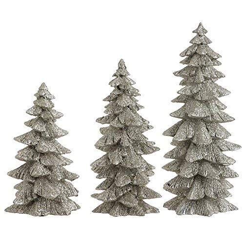 Set of 3 Silver Glittered Christmas Trees- 6.25 inches to 9.5 inches tall
