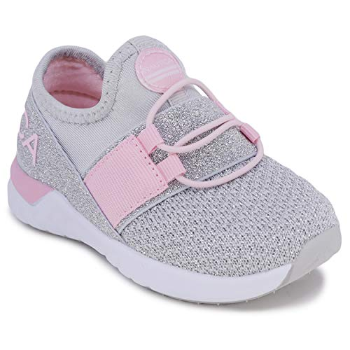 Nautica Kids Toddler Sneaker Athletic Slip-On Bungee Running Shoes Boy-Girl Toddler Little Kid-Neave Toddler-Silver Pink-9