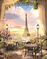 数字油絵 フレーム付き、数字キット塗り絵 手塗り DIY-大人の初心者の子供-パリ鉄道-40x50 cm