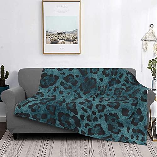 Manta de franela suave con estampado de leopardo, color turquesa, suave, acogedora, cálida, manta de franela para sofá, oficina, playa, 156 x 150 cm