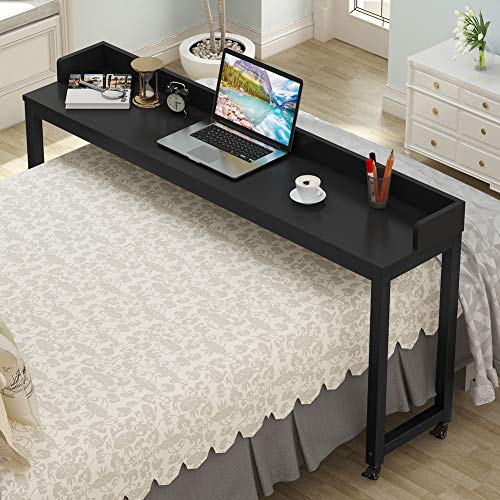 Tribesigns Overbed Table with Wheels, Unadjustable Queen Size Mobile Desk with Heavy-Duty Metal Legs, Height Can't Adjust (Black)