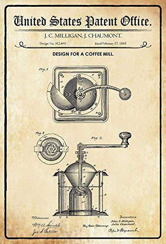 NWFS Patent Entwurf für eine Kaffeemühle Blechschild Metallschild Schild Metal Tin Sign gewölbt lackiert 20 x 30 cm